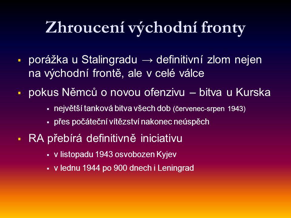 Zhroucení východní fronty   porážka u Stalingradu → definitivní zlom nejen na východní frontě, ale v celé válce   pokus Němců o novou ofenzivu – bitva u Kurska   největší tanková bitva všech dob (červenec-srpen 1943)   přes počáteční vítězství nakonec neúspěch   RA přebírá definitivně iniciativu   v listopadu 1943 osvobozen Kyjev   v lednu 1944 po 900 dnech i Leningrad