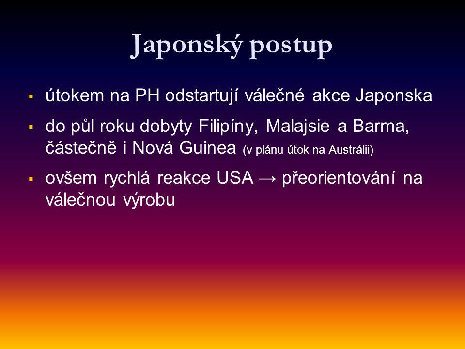 Japonský postup   útokem na PH odstartují válečné akce Japonska   do půl roku dobyty Filipíny, Malajsie a Barma, částečně i Nová Guinea (v plánu útok na Austrálii)   ovšem rychlá reakce USA → přeorientování na válečnou výrobu