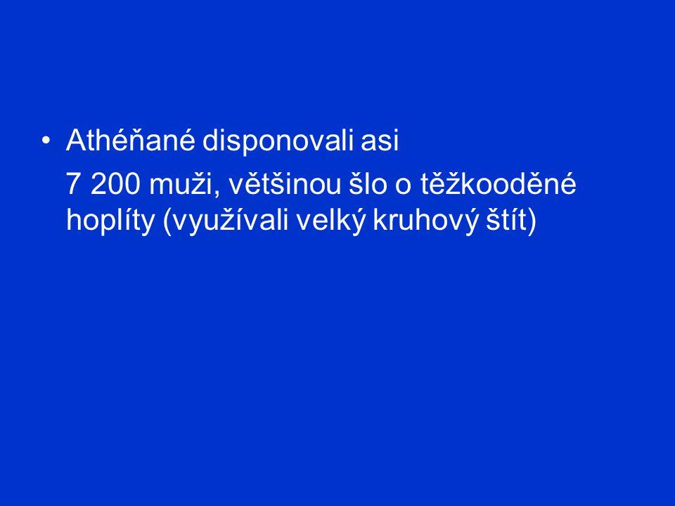 Athéňané disponovali asi 7 200 muži, většinou šlo o těžkooděné hoplíty (využívali velký kruhový štít)