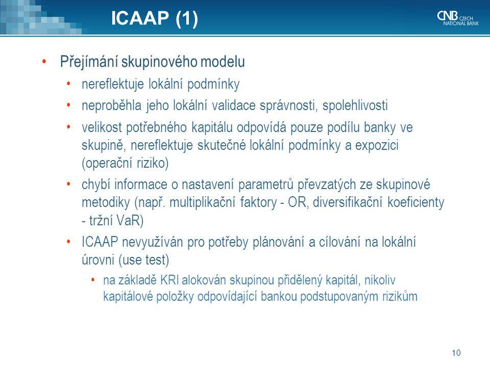10 ICAAP (1) Přejímání skupinového modelu nereflektuje lokální podmínky neproběhla jeho lokální validace správnosti, spolehlivosti velikost potřebného kapitálu odpovídá pouze podílu banky ve skupině, nereflektuje skutečné lokální podmínky a expozici (operační riziko) chybí informace o nastavení parametrů převzatých ze skupinové metodiky (např.