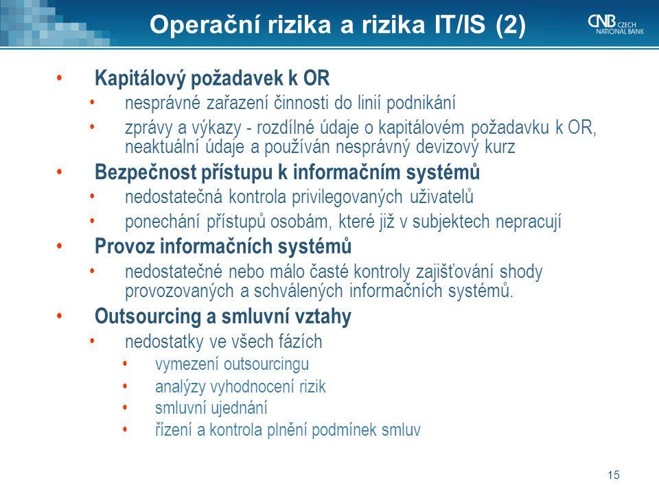 15 Operační rizika a rizika IT/IS (2) Kapitálový požadavek k OR nesprávné zařazení činnosti do linií podnikání zprávy a výkazy - rozdílné údaje o kapitálovém požadavku k OR, neaktuální údaje a používán nesprávný devizový kurz Bezpečnost přístupu k informačním systémů nedostatečná kontrola privilegovaných uživatelů ponechání přístupů osobám, které již v subjektech nepracují Provoz informačních systémů nedostatečné nebo málo časté kontroly zajišťování shody provozovaných a schválených informačních systémů.