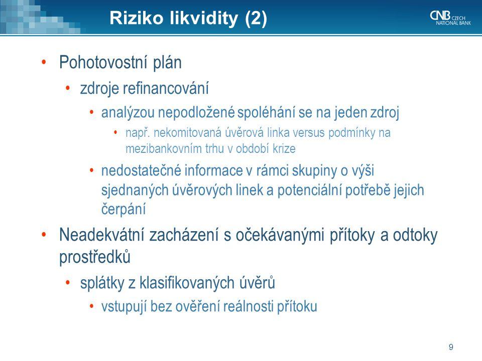 9 Riziko likvidity (2) Pohotovostní plán zdroje refinancování analýzou nepodložené spoléhání se na jeden zdroj např.