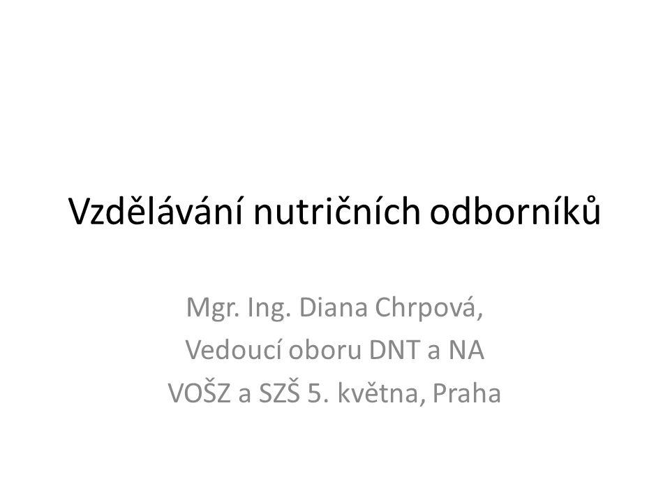 Vzdělávání nutričních odborníků Mgr. Ing. Diana Chrpová, Vedoucí oboru DNT a NA VOŠZ a SZŠ 5. května, Praha
