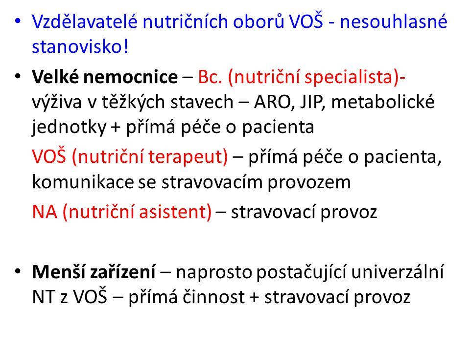Vzdělavatelé nutričních oborů VOŠ - nesouhlasné stanovisko! Velké nemocnice – Bc. (nutriční specialista)- výživa v těžkých stavech – ARO, JIP, metabol