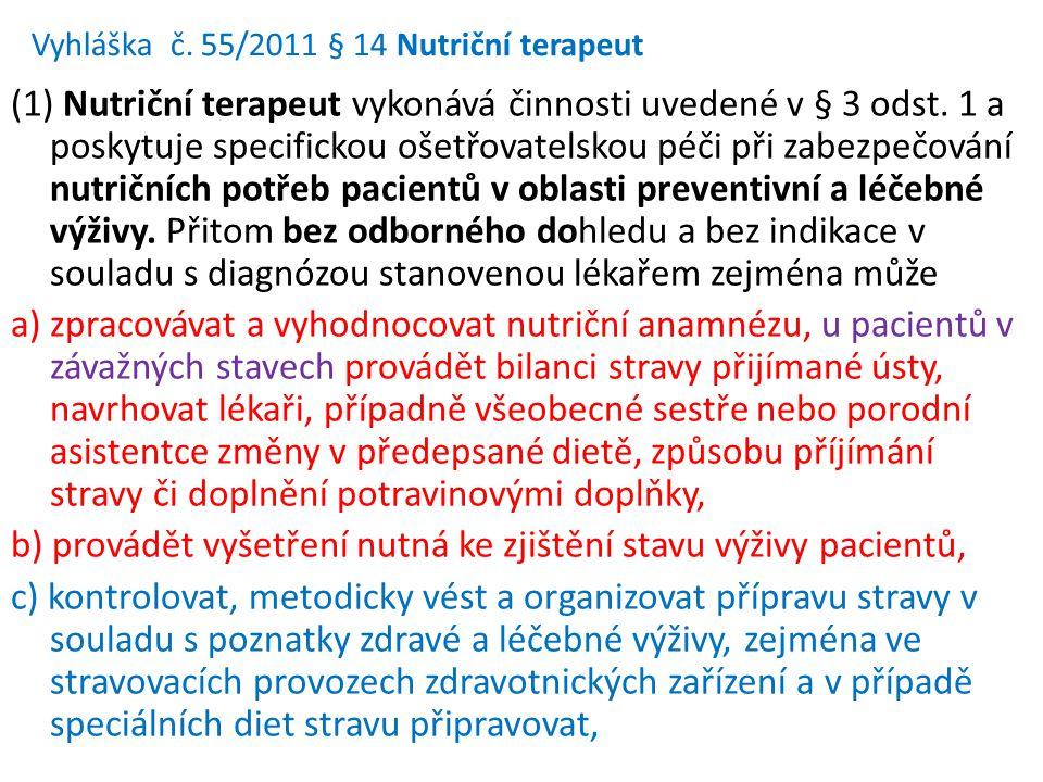 Vyhláška č. 55/2011 § 14 Nutriční terapeut (1) Nutriční terapeut vykonává činnosti uvedené v § 3 odst. 1 a poskytuje specifickou ošetřovatelskou péči