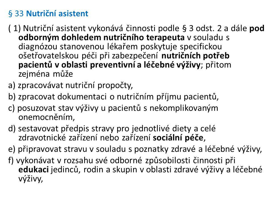 § 33 Nutriční asistent ( 1) Nutriční asistent vykonává činnosti podle § 3 odst. 2 a dále pod odborným dohledem nutričního terapeuta v souladu s diagnó