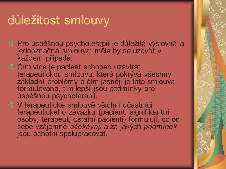 důležitost smlouvy Pro úspěšnou psychoterapii je důležitá výslovná a jednoznačná smlouva; měla by se uzavřít v každém případě.