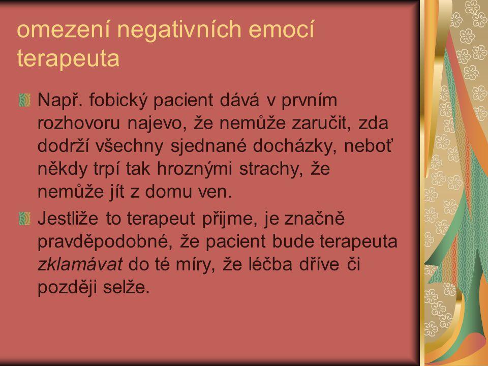 omezení negativních emocí terapeuta Např.