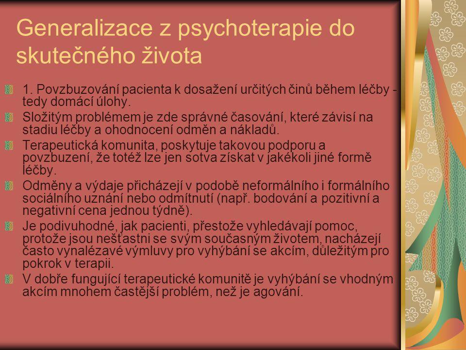 Generalizace z psychoterapie do skutečného života 1.