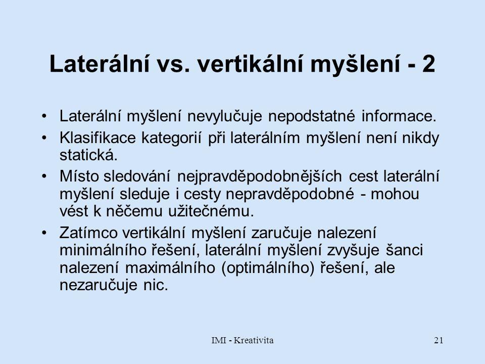 IMI - Kreativita21 Laterální vs. vertikální myšlení - 2 Laterální myšlení nevylučuje nepodstatné informace. Klasifikace kategorií při laterálním myšle