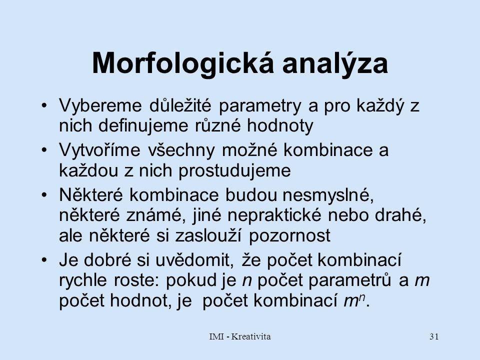 IMI - Kreativita31 Morfologická analýza Vybereme důležité parametry a pro každý z nich definujeme různé hodnoty Vytvoříme všechny možné kombinace a ka