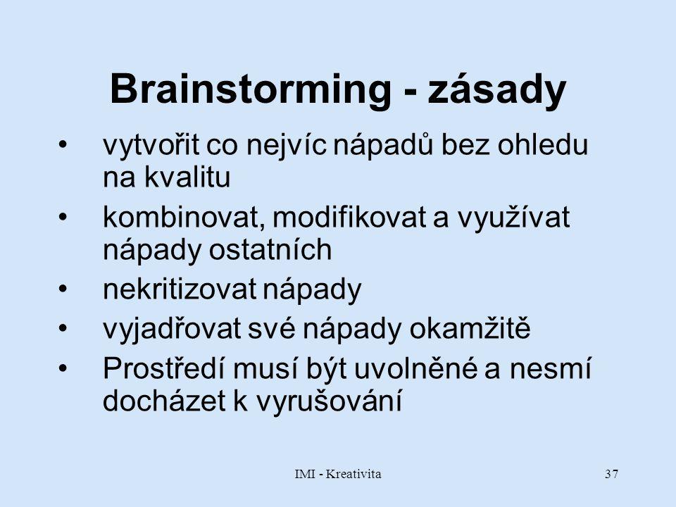 IMI - Kreativita37 Brainstorming - zásady vytvořit co nejvíc nápadů bez ohledu na kvalitu kombinovat, modifikovat a využívat nápady ostatních nekritiz