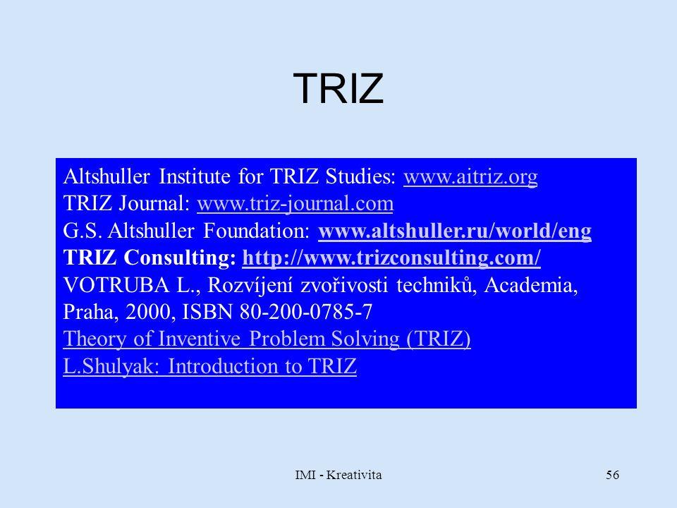 IMI - Kreativita56 TRIZ Altshuller Institute for TRIZ Studies: www.aitriz.orgwww.aitriz.org TRIZ Journal: www.triz-journal.comwww.triz-journal.com G.S