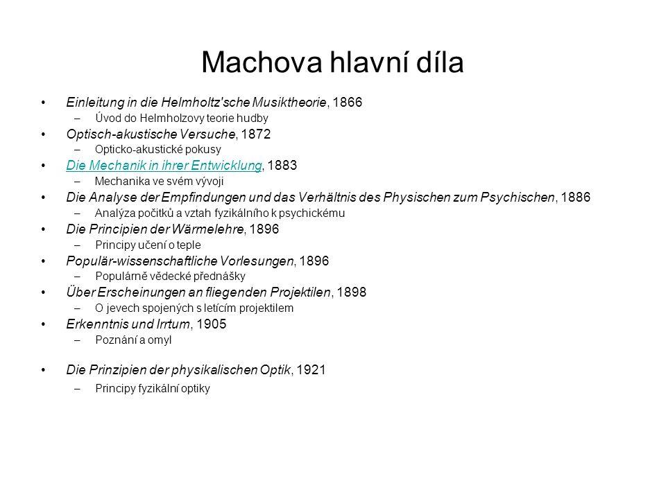 Machovo dílo fyzikální Pohyb nadzvukovou rychlostí – Machovo číslo, Machův kužel Demonstrační zařízení –Machovo kyvadlo, Machův vlnostroj Termodynamika Machův princip
