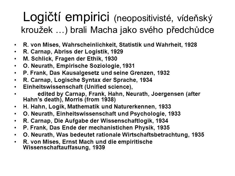 Logičtí empirici (neopositivisté, vídeňský kroužek …) brali Macha jako svého předchůdce R.