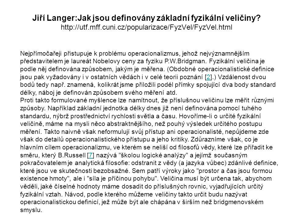 Jiří Langer:Jak jsou definovány základní fyzikální veličiny.