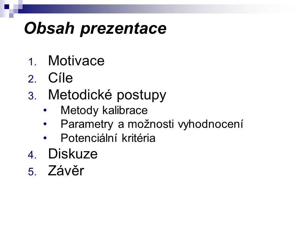 Obsah prezentace 1. Motivace 2. Cíle 3.