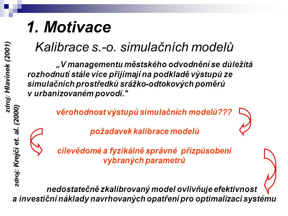1. Motivace Kalibrace s.-o.