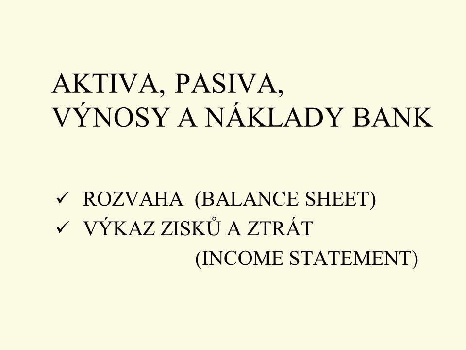 AKTIVA, PASIVA, VÝNOSY A NÁKLADY BANK ROZVAHA (BALANCE SHEET) VÝKAZ ZISKŮ A ZTRÁT (INCOME STATEMENT)
