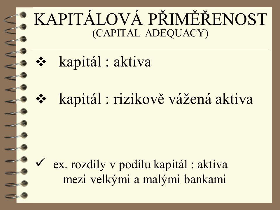 KAPITÁLOVÁ PŘIMĚŘENOST (CAPITAL ADEQUACY)  kapitál : aktiva  kapitál : rizikově vážená aktiva ex. rozdíly v podílu kapitál : aktiva mezi velkými a m