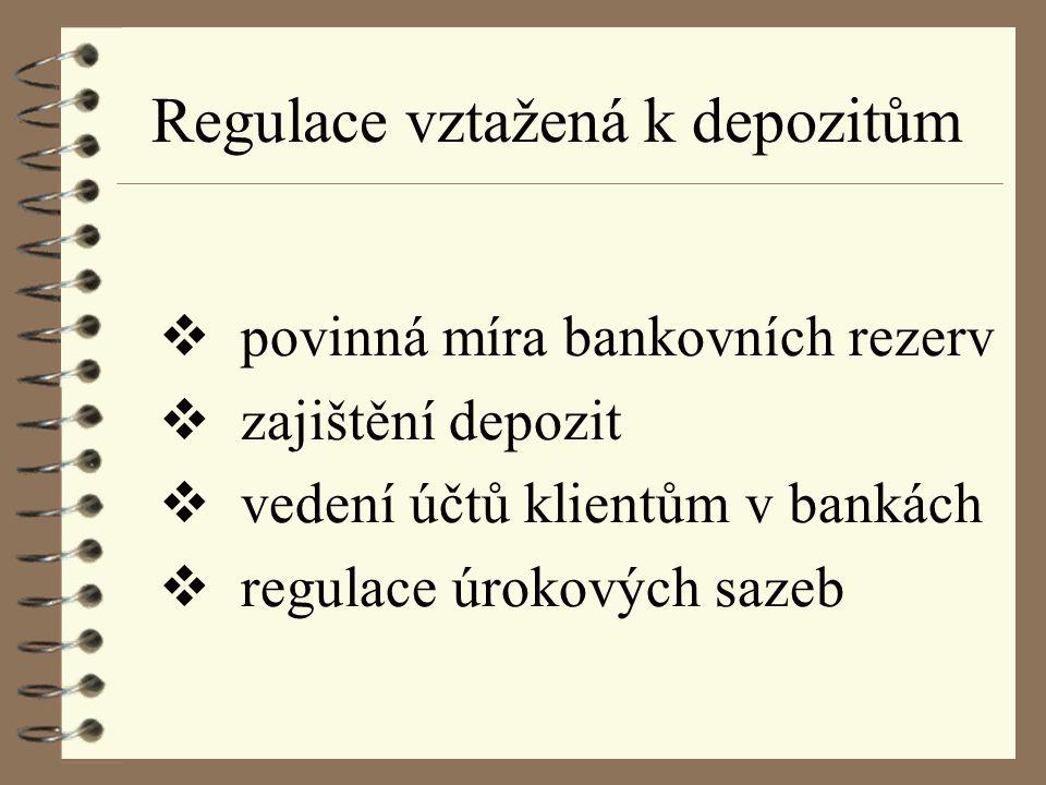 Regulace vztažená k depozitům  povinná míra bankovních rezerv  zajištění depozit  vedení účtů klientům v bankách  regulace úrokových sazeb