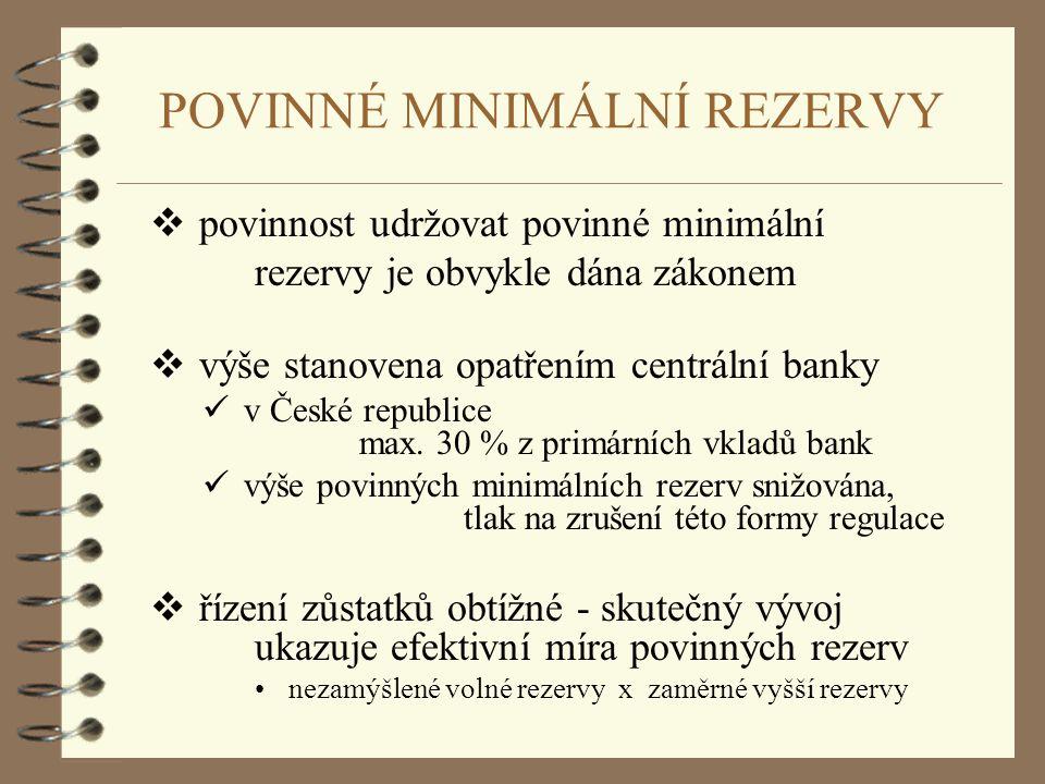 POVINNÉ MINIMÁLNÍ REZERVY  povinnost udržovat povinné minimální rezervy je obvykle dána zákonem  výše stanovena opatřením centrální banky v České re