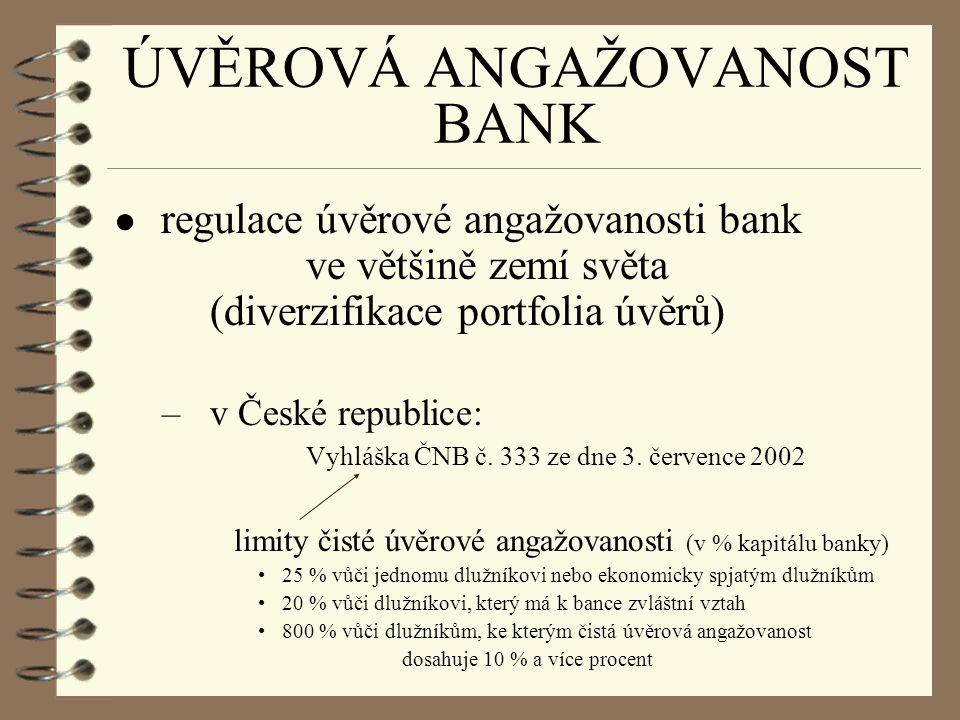ÚVĚROVÁ ANGAŽOVANOST BANK ● regulace úvěrové angažovanosti bank ve většině zemí světa (diverzifikace portfolia úvěrů) –v České republice: Vyhláška ČNB