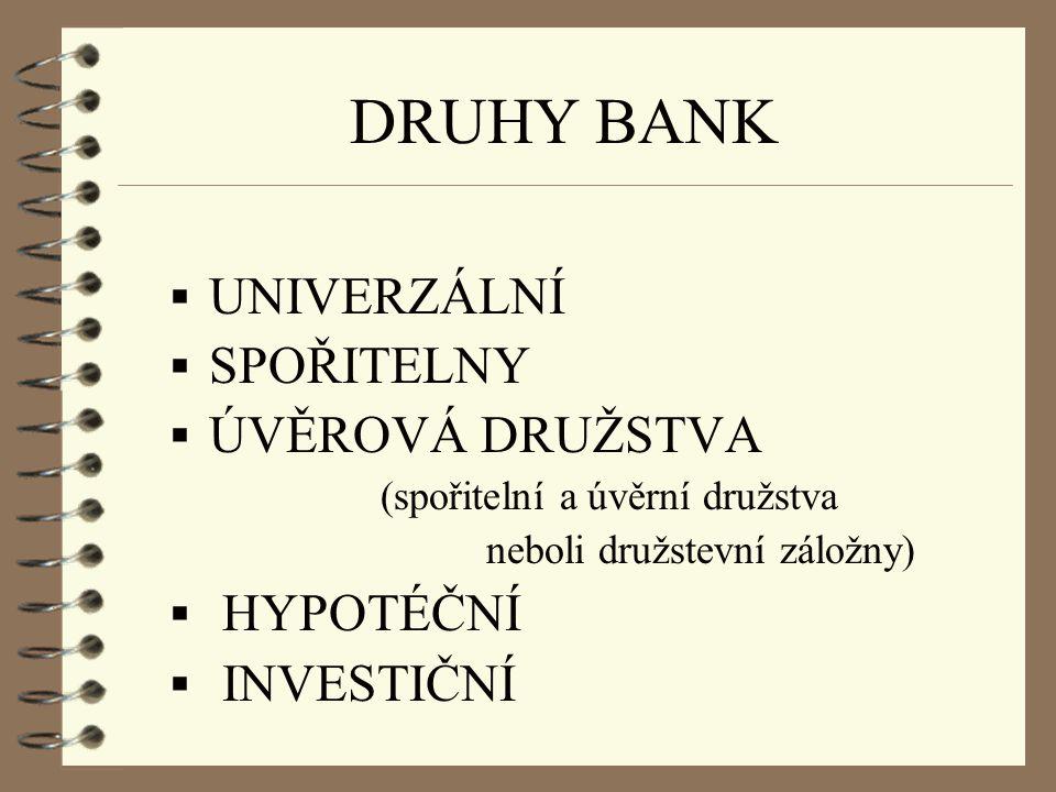 DRUHY BANK  UNIVERZÁLNÍ  SPOŘITELNY  ÚVĚROVÁ DRUŽSTVA (spořitelní a úvěrní družstva neboli družstevní záložny)  HYPOTÉČNÍ  INVESTIČNÍ
