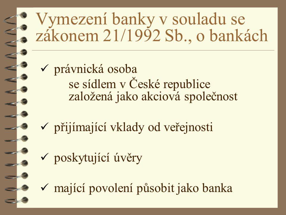 Vymezení banky v souladu se zákonem 21/1992 Sb., o bankách právnická osoba se sídlem v České republice založená jako akciová společnost přijímající vk