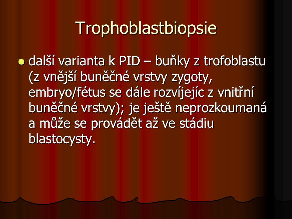 Trophoblastbiopsie další varianta k PID – buňky z trofoblastu (z vnější buněčné vrstvy zygoty, embryo/fétus se dále rozvíjejíc z vnitřní buněčné vrstv