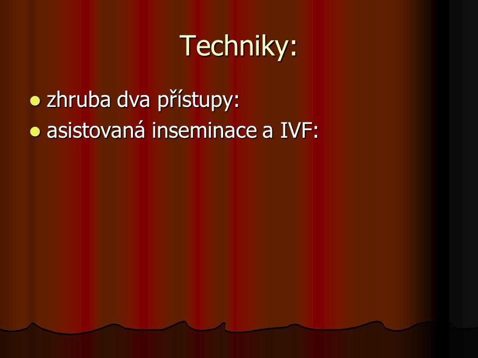 Techniky: zhruba dva přístupy: zhruba dva přístupy: asistovaná inseminace a IVF: asistovaná inseminace a IVF: