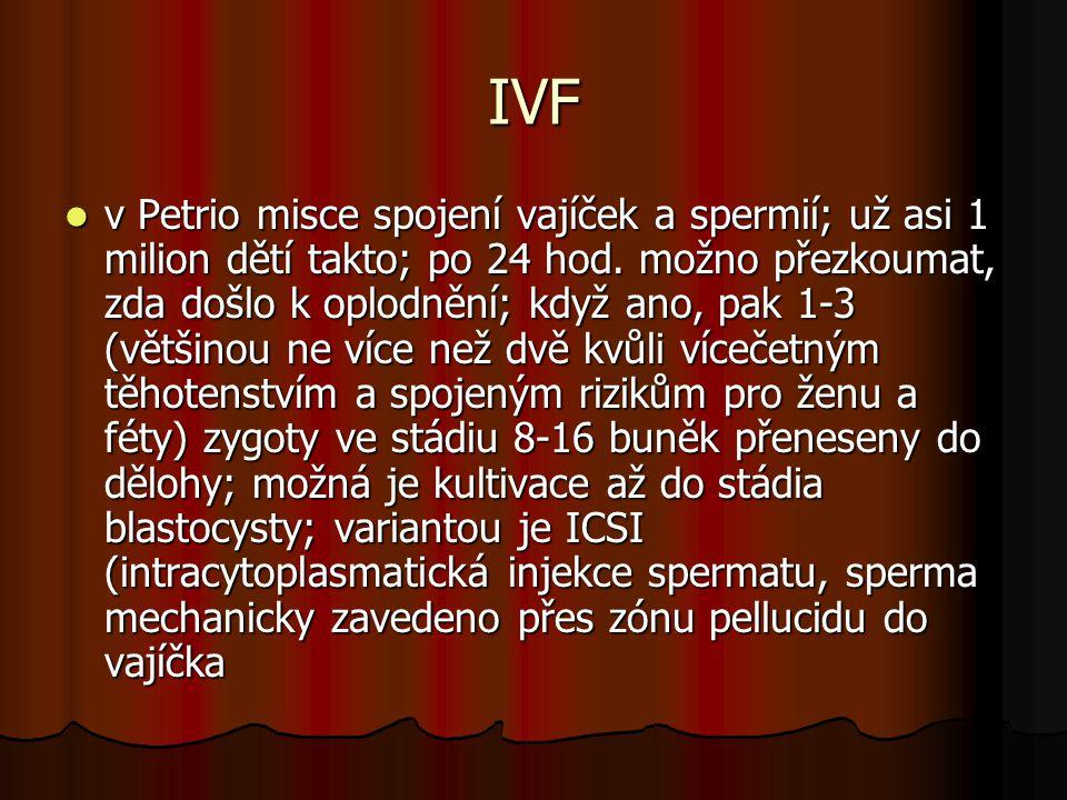 IVF v Petrio misce spojení vajíček a spermií; už asi 1 milion dětí takto; po 24 hod. možno přezkoumat, zda došlo k oplodnění; když ano, pak 1-3 (větši