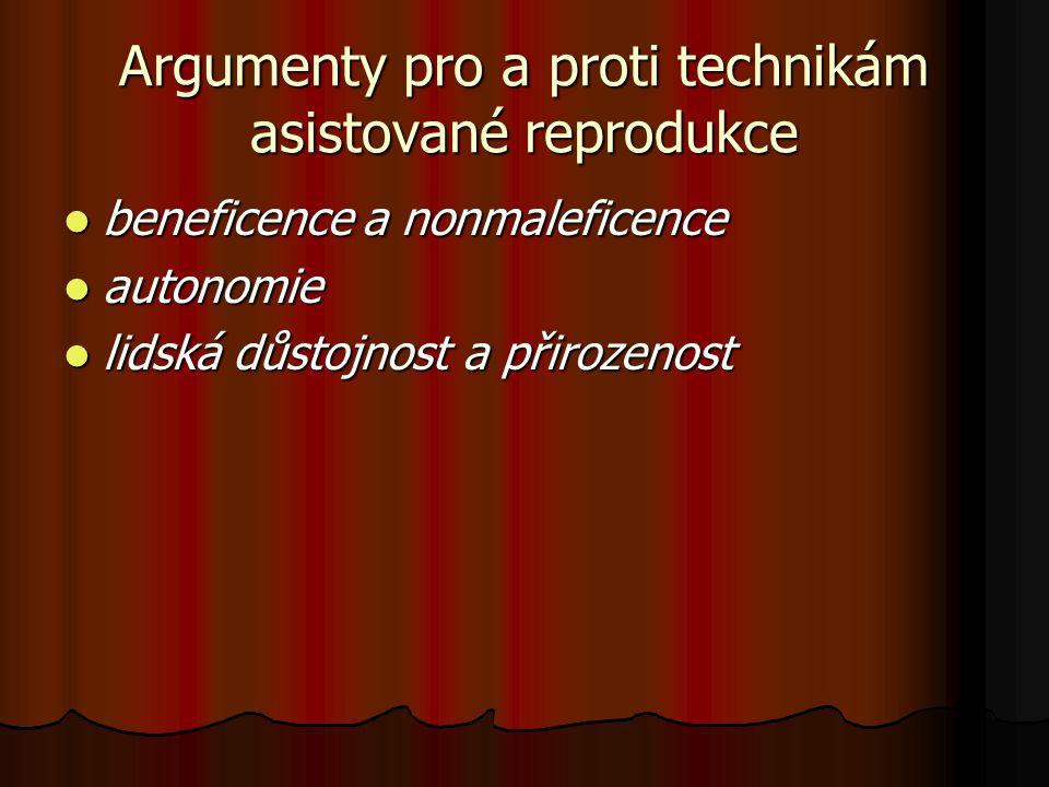 Argumenty pro a proti technikám asistované reprodukce beneficence a nonmaleficence beneficence a nonmaleficence autonomie autonomie lidská důstojnost
