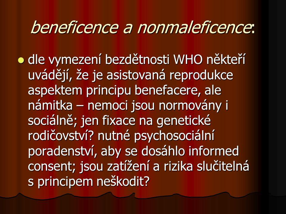 beneficence a nonmaleficence: dle vymezení bezdětnosti WHO někteří uvádějí, že je asistovaná reprodukce aspektem principu benefacere, ale námitka – ne