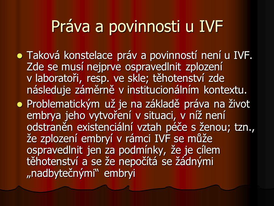 Práva a povinnosti u IVF Taková konstelace práv a povinností není u IVF. Zde se musí nejprve ospravedlnit zplození v laboratoři, resp. ve skle; těhote