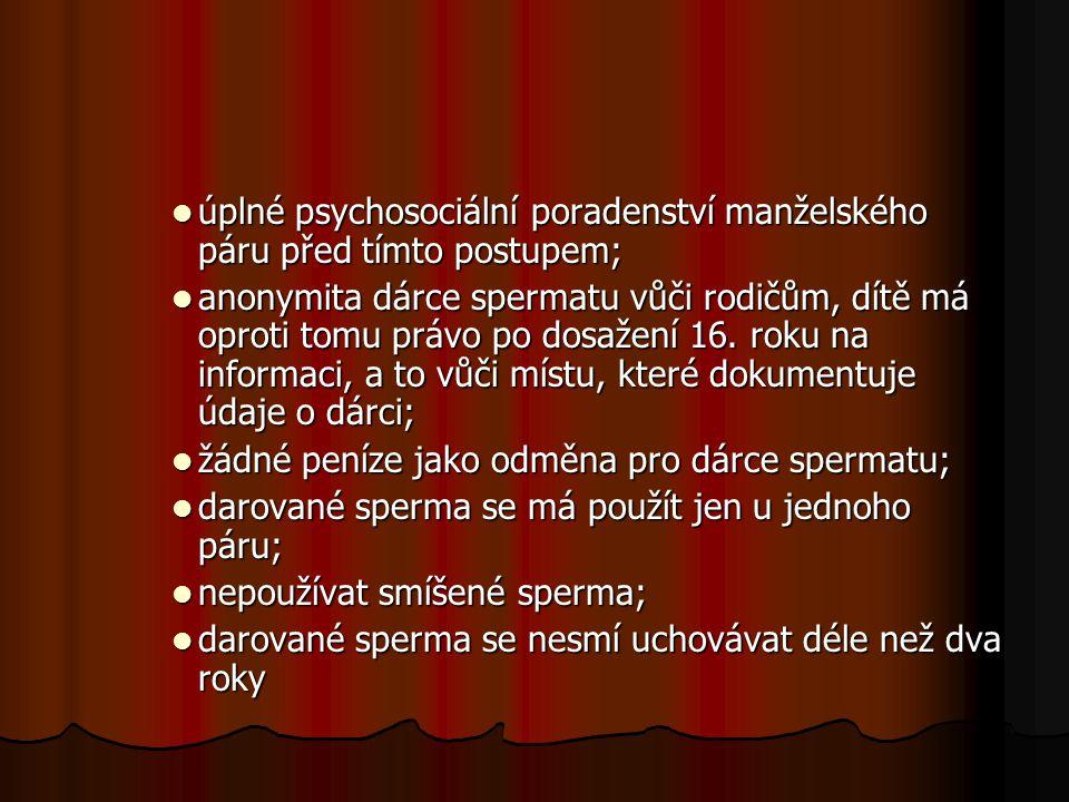 úplné psychosociální poradenství manželského páru před tímto postupem; úplné psychosociální poradenství manželského páru před tímto postupem; anonymit