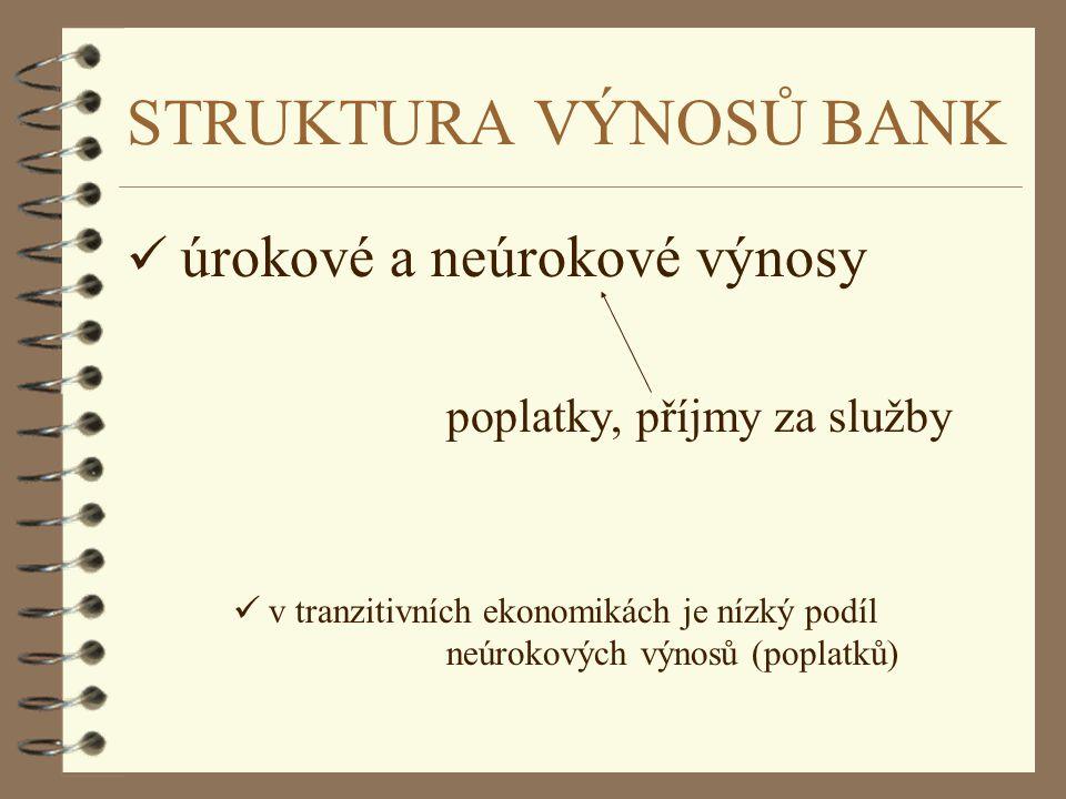 STRUKTURA VÝNOSŮ BANK ü úrokové a neúrokové výnosy poplatky, příjmy za služby ü v tranzitivních ekonomikách je nízký podíl neúrokových výnosů (poplatk