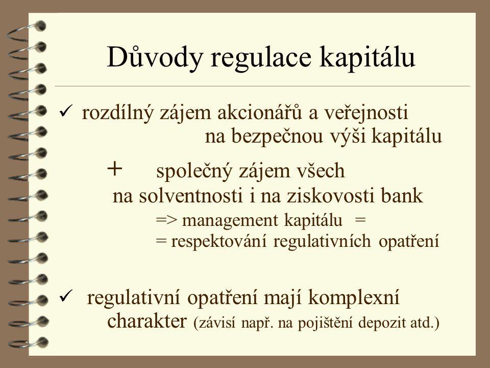 Důvody regulace kapitálu ü rozdílný zájem akcionářů a veřejnosti na bezpečnou výši kapitálu + společný zájem všech na solventnosti i na ziskovosti ban