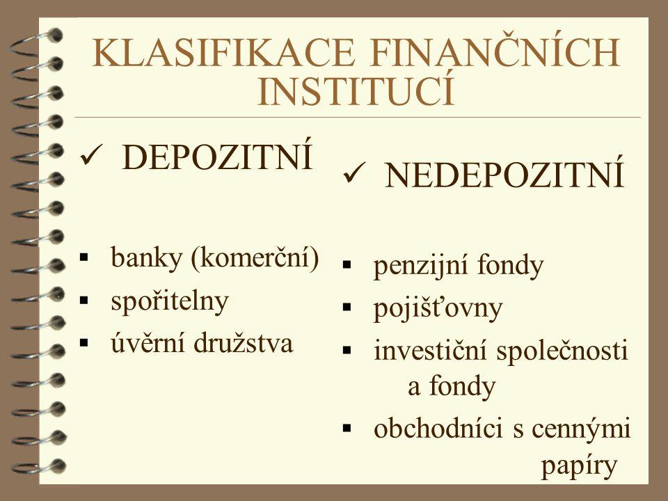 KLASIFIKACE FINANČNÍCH INSTITUCÍ DEPOZITNÍ  banky (komerční)  spořitelny  úvěrní družstva NEDEPOZITNÍ  penzijní fondy  pojišťovny  investiční sp