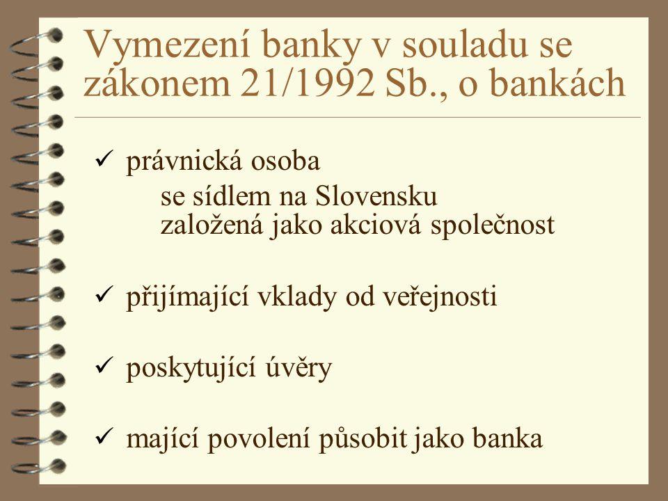 Vymezení banky v souladu se zákonem 21/1992 Sb., o bankách právnická osoba se sídlem na Slovensku založená jako akciová společnost přijímající vklady