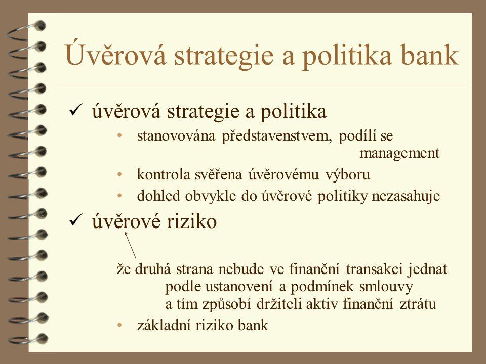 Úvěrová strategie a politika bank ü úvěrová strategie a politika stanovována představenstvem, podílí se management kontrola svěřena úvěrovému výboru d