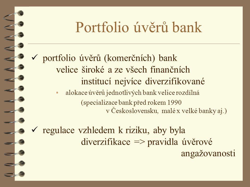 Portfolio úvěrů bank ü portfolio úvěrů (komerčních) bank velice široké a ze všech finančních institucí nejvíce diverzifikované alokace úvěrů jednotliv
