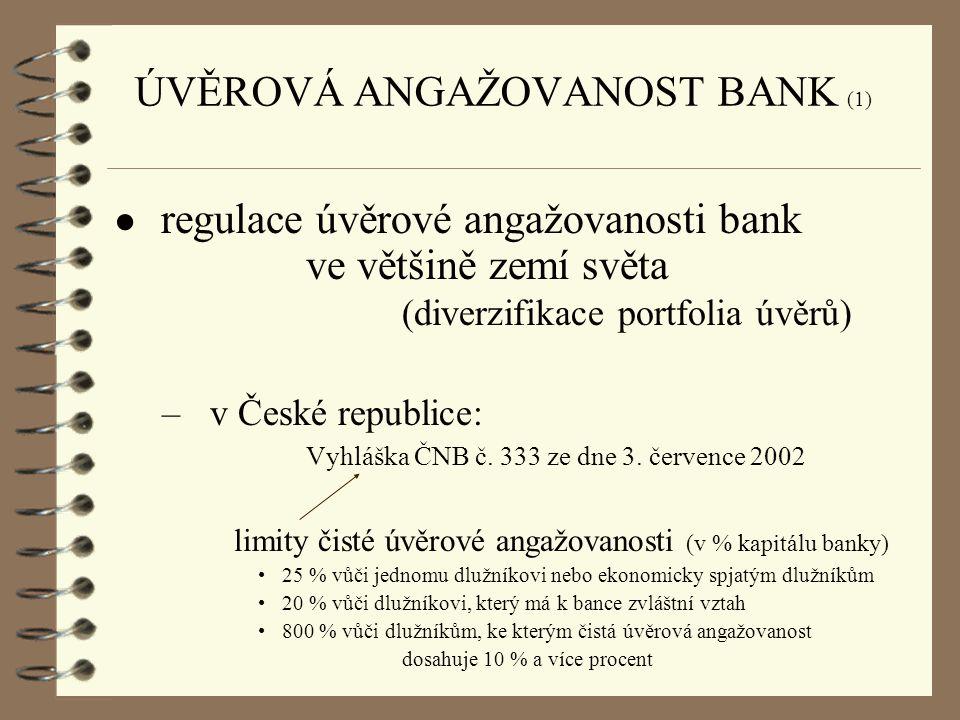 ● regulace úvěrové angažovanosti bank ve většině zemí světa (diverzifikace portfolia úvěrů) –v České republice: Vyhláška ČNB č. 333 ze dne 3. července