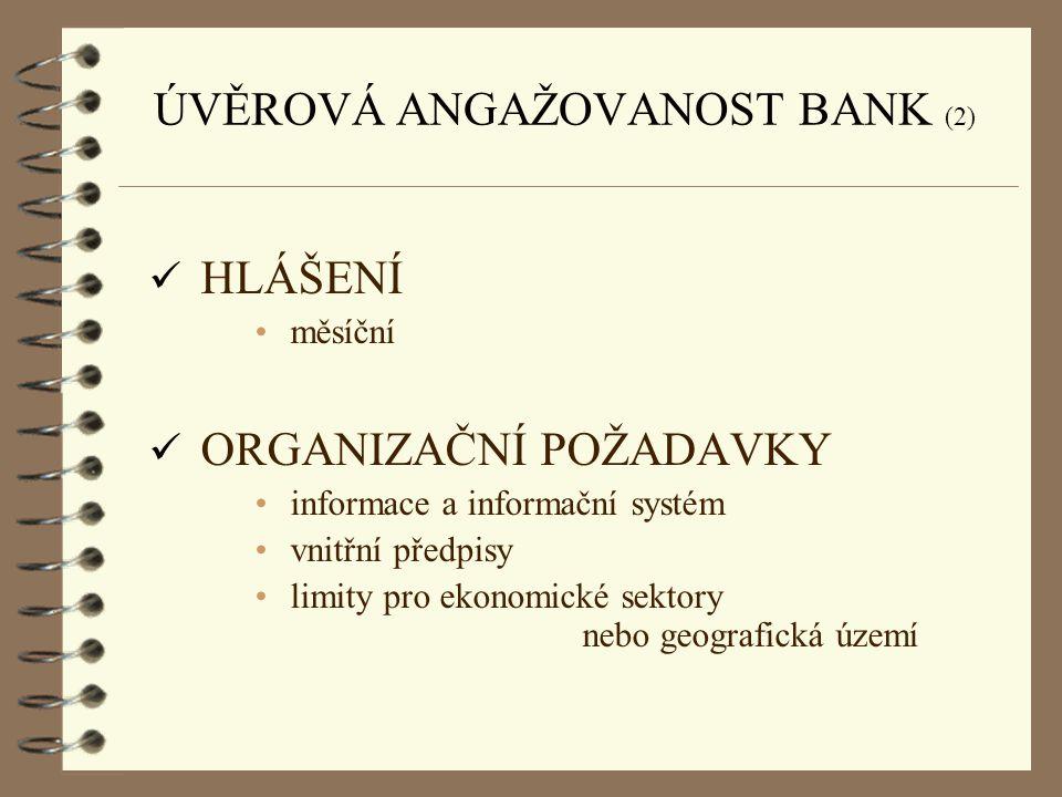 ÚVĚROVÁ ANGAŽOVANOST BANK (2) ü HLÁŠENÍ měsíční ü ORGANIZAČNÍ POŽADAVKY informace a informační systém vnitřní předpisy limity pro ekonomické sektory n