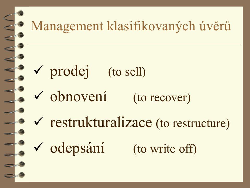 Management klasifikovaných úvěrů ü prodej (to sell) ü obnovení (to recover) ü restrukturalizace (to restructure) ü odepsání (to write off)