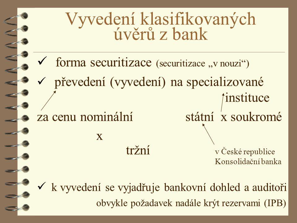 """Vyvedení klasifikovaných úvěrů z bank ü forma securitizace (securitizace """"v nouzi"""") ü převedení (vyvedení) na specializované instituce za cenu nominál"""