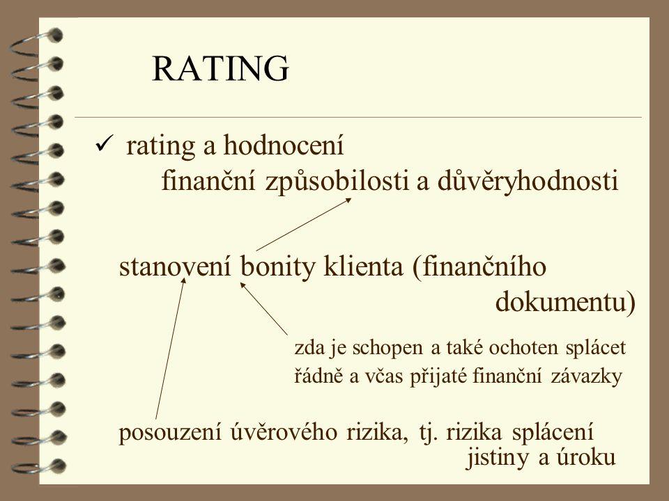 RATING ü rating a hodnocení finanční způsobilosti a důvěryhodnosti stanovení bonity klienta (finančního dokumentu) zda je schopen a také ochoten splác