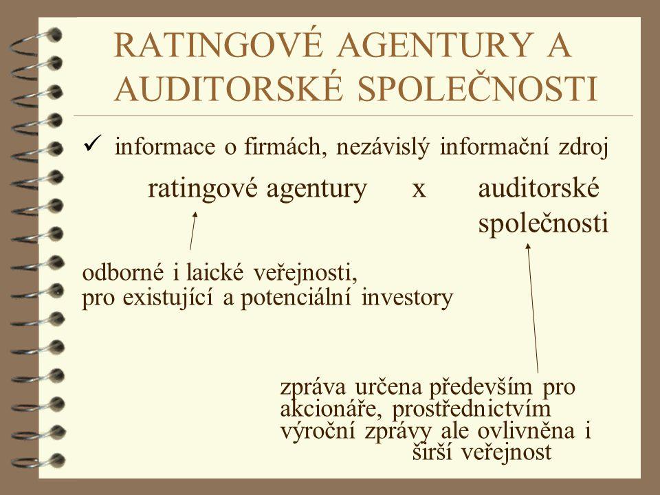 RATINGOVÉ AGENTURY A AUDITORSKÉ SPOLEČNOSTI ü informace o firmách, nezávislý informační zdroj ratingové agenturyx auditorské společnosti odborné i lai