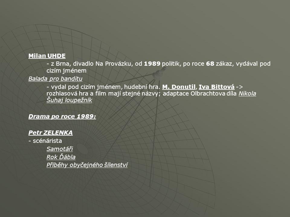 Milan UHDE - z Brna, divadlo Na Provázku, od 1989 politik, po roce 68 zákaz, vydával pod cizím jménem Balada pro banditu - vydal pod cizím jménem, hud