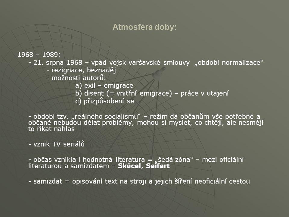 """Atmosféra doby: 1968 – 1989: - 21. srpna 1968 – vpád vojsk varšavské smlouvy """"období normalizace"""" - rezignace, beznaděj - možnosti autorů: a) exil – e"""